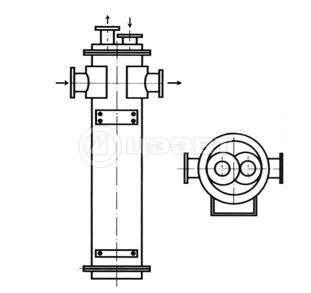 Эскиз конструкции кожухотрубного теплообменника типа ВВПИ