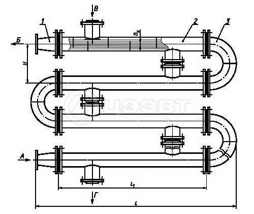 Схема 1. Четырёхсекционный водоводяной подогреватель.