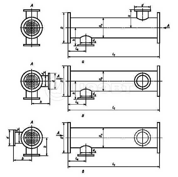 Схема 2. Блок-секции с типовым, правым и левым вариантами размещения патрубков.