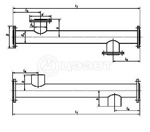 """Схема 3. Блок-секции типа ПВ1с фланцевым соединением и типа ПВ2 с соединением """"под сварку""""."""